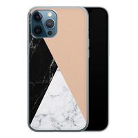 iPhone 12 Pro siliconen hoesje - Marmer zwart bruin