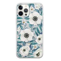 iPhone 12 Pro Max siliconen hoesje - Witte bloemen