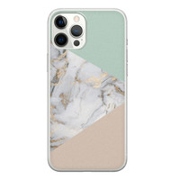 iPhone 12 Pro Max siliconen hoesje - Marmer pastel mix