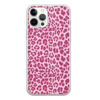 iPhone 12 Pro Max siliconen hoesje - Luipaard roze