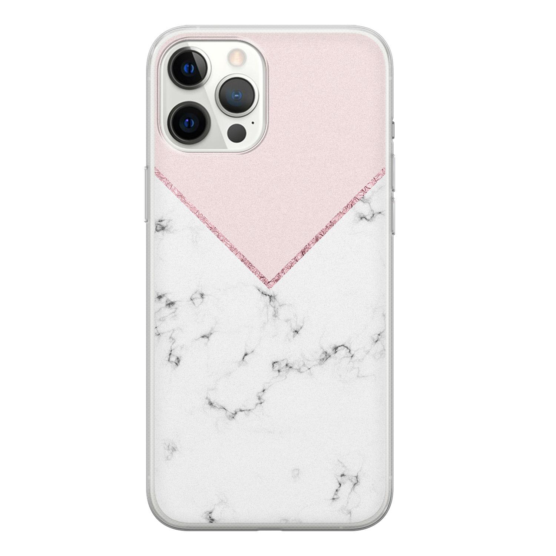 iPhone 12 Pro Max siliconen hoesje - Marmer roze grijs