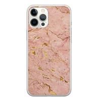 iPhone 12 Pro Max siliconen hoesje - Marmer roze goud