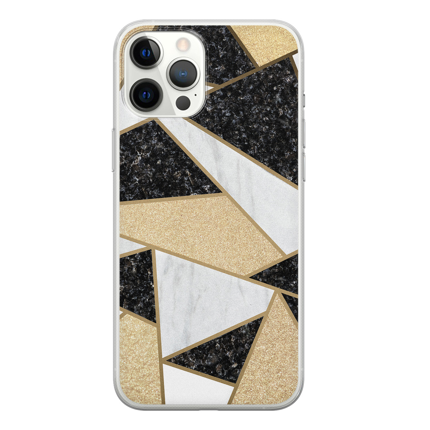 iPhone 12 Pro Max siliconen hoesje - Goud abstract