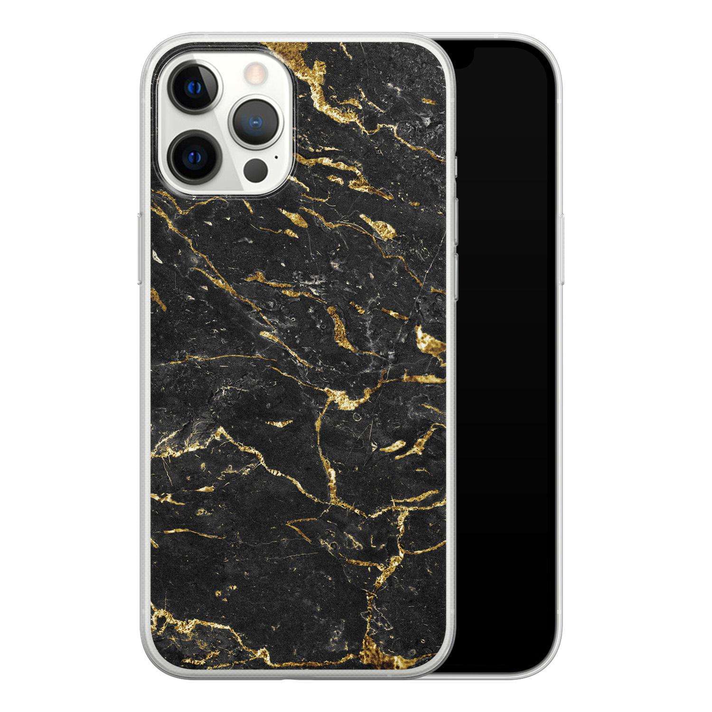iPhone 12 Pro Max siliconen hoesje - Marmer zwart goud