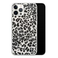 iPhone 12 Pro Max siliconen hoesje - Luipaard grijs