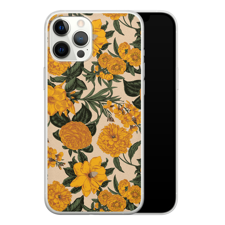 iPhone 12 Pro Max siliconen hoesje - Retro flowers