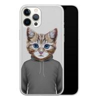 iPhone 12 Pro Max siliconen hoesje - Poezenhoofd
