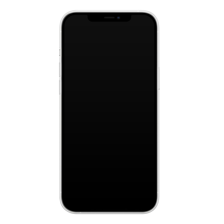 iPhone 12 Pro Max siliconen hoesje - Marmer zwart bruin
