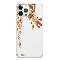 iPhone 12 Pro Max siliconen hoesje - Giraffe peekaboo