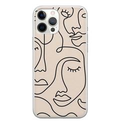 Leuke Telefoonhoesjes iPhone 12 Pro Max siliconen hoesje - Abstract gezicht lijnen