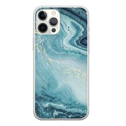 Leuke Telefoonhoesjes iPhone 12 Pro Max siliconen hoesje - Marmer blauw