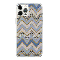 Leuke Telefoonhoesjes iPhone 12 Pro Max siliconen hoesje - Retro zigzag