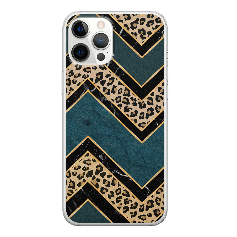 iPhone 12 Pro Max siliconen hoesje - Luipaard zigzag