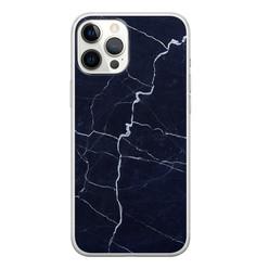 Leuke Telefoonhoesjes iPhone 12 Pro Max siliconen hoesje - Marmer navy blauw
