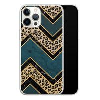 Leuke Telefoonhoesjes iPhone 12 Pro Max siliconen hoesje - Luipaard zigzag