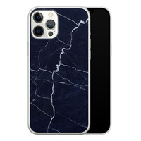 iPhone 12 Pro Max siliconen hoesje - Marmer navy blauw