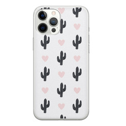 Leuke Telefoonhoesjes iPhone 12 Pro Max siliconen hoesje - Cactus love