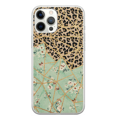iPhone 12 Pro Max siliconen hoesje - Luipaard flower print