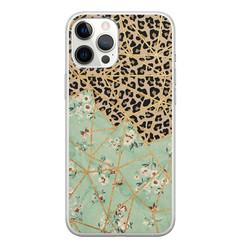 Leuke Telefoonhoesjes iPhone 12 Pro Max siliconen hoesje - Luipaard flower print