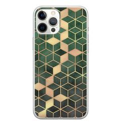 Leuke Telefoonhoesjes iPhone 12 Pro Max siliconen hoesje - Green cubes