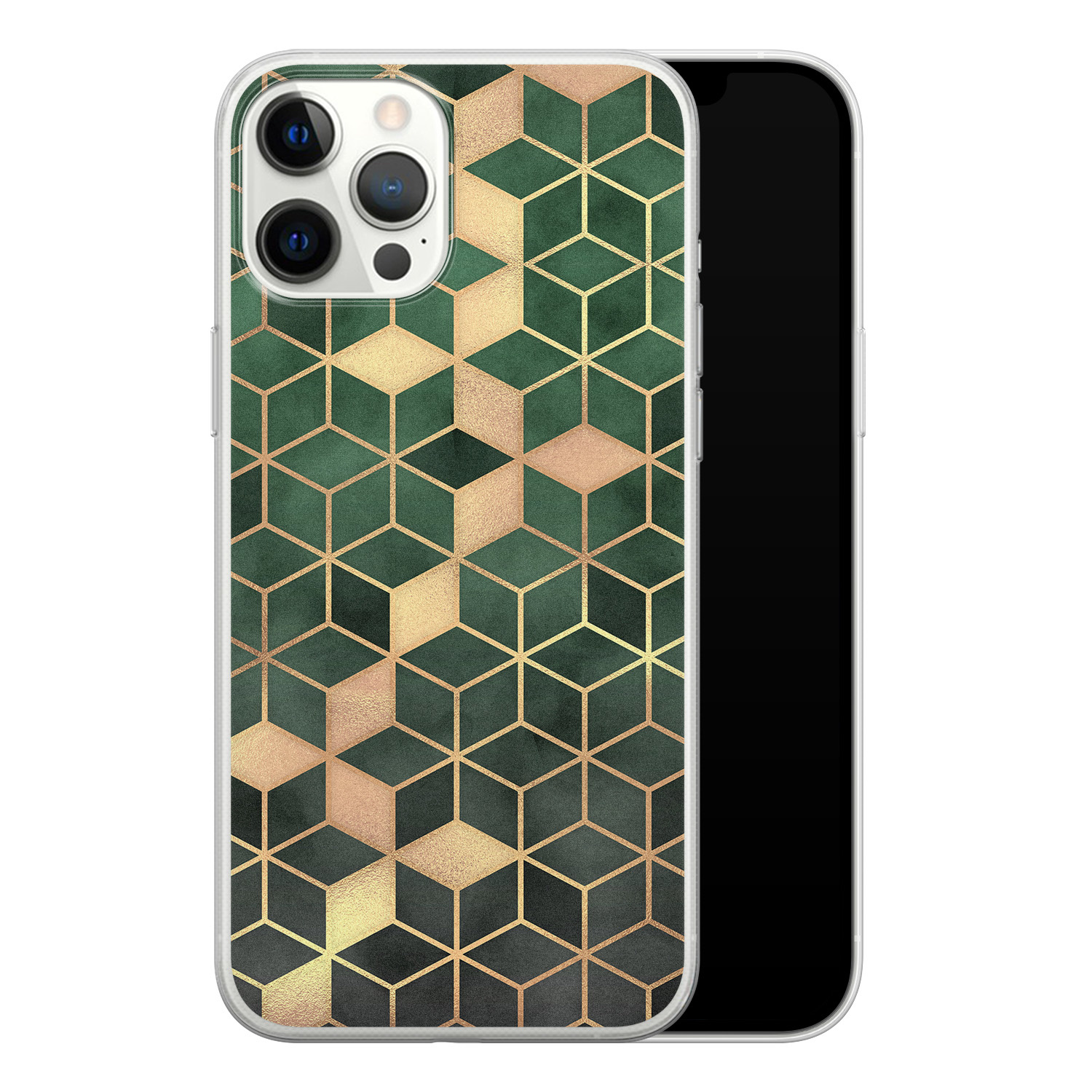 iPhone 12 Pro Max siliconen hoesje - Green cubes