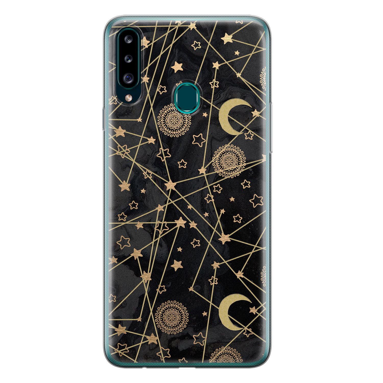 Samsung Galaxy A20s siliconen hoesje - Sun, moon, stars