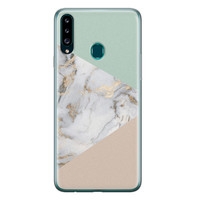 Samsung Galaxy A20s siliconen hoesje - Marmer pastel mix