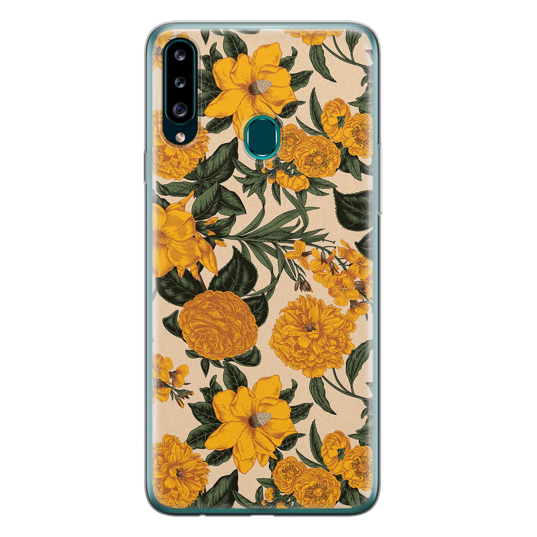 Samsung Galaxy A20s siliconen hoesje - Retro flowers