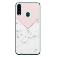 Samsung Galaxy A20s siliconen hoesje - Marmer roze grijs