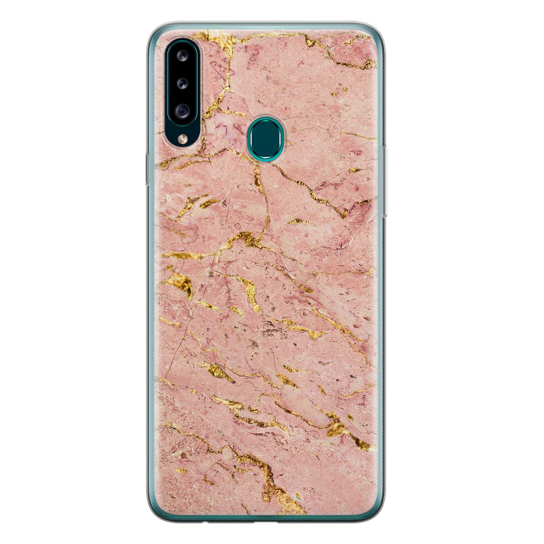 Samsung Galaxy A20s siliconen hoesje - Marmer roze goud