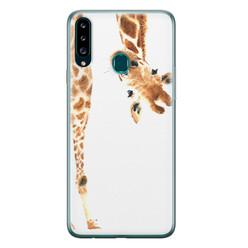 Leuke Telefoonhoesjes Samsung Galaxy A20s siliconen hoesje - Giraffe peekaboo