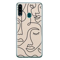Leuke Telefoonhoesjes Samsung Galaxy A20s siliconen hoesje - Abstract gezicht lijnen