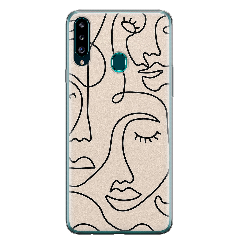 Samsung Galaxy A20s siliconen hoesje - Abstract gezicht lijnen