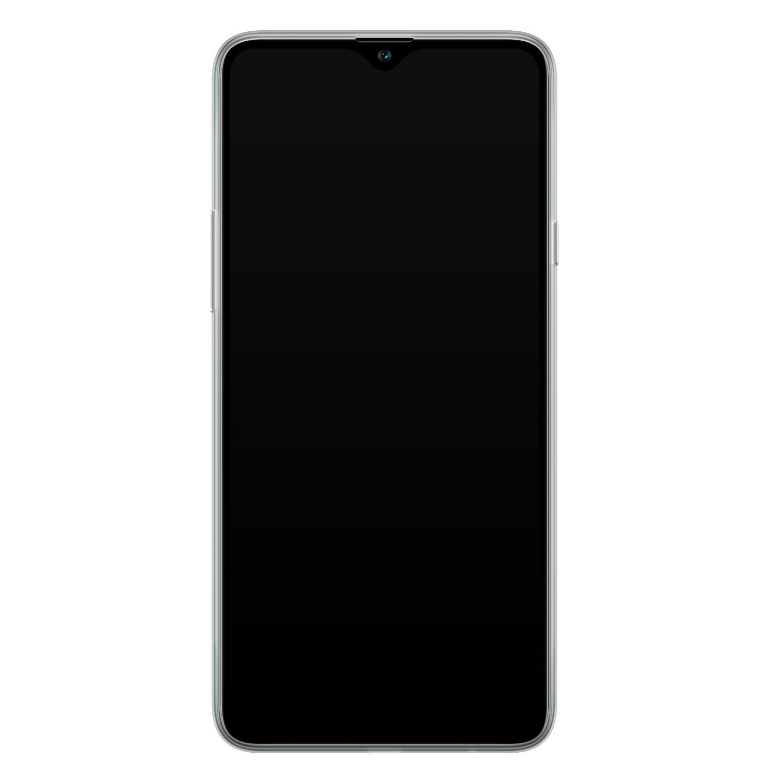 Samsung Galaxy A20s siliconen hoesje - Goud blauw marmer
