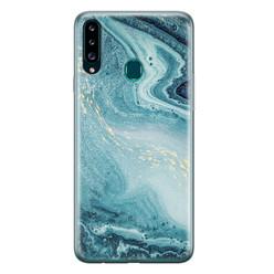 Leuke Telefoonhoesjes Samsung Galaxy A20s siliconen hoesje - Marmer blauw