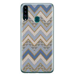 Leuke Telefoonhoesjes Samsung Galaxy A20s siliconen hoesje - Retro zigzag