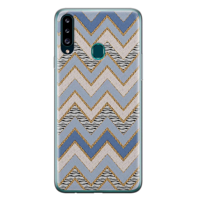 Samsung Galaxy A20s siliconen hoesje - Retro zigzag