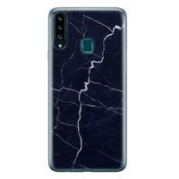 Samsung Galaxy A20s siliconen hoesje - Marmer navy blauw