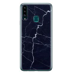 Leuke Telefoonhoesjes Samsung Galaxy A20s siliconen hoesje - Marmer navy blauw