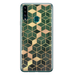 Samsung Galaxy A20s siliconen hoesje - Green cubes