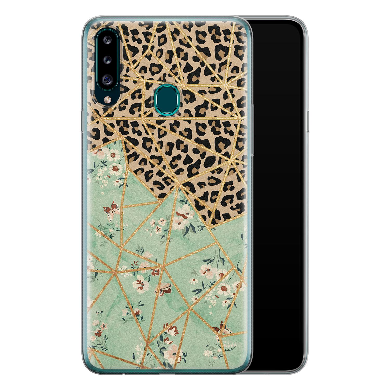 Samsung Galaxy A20s siliconen hoesje - Luipaard flower print