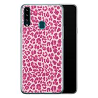 Samsung Galaxy A20s siliconen hoesje - Luipaard roze