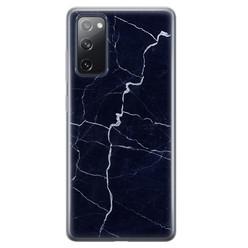 Samsung Galaxy S20 FE siliconen hoesje - Marmer navy blauw