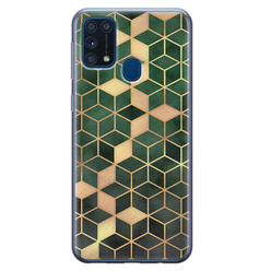 Samsung Galaxy M31 siliconen hoesje - Green cubes