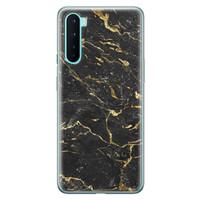 OnePlus Nord siliconen hoesje - Marmer zwart goud