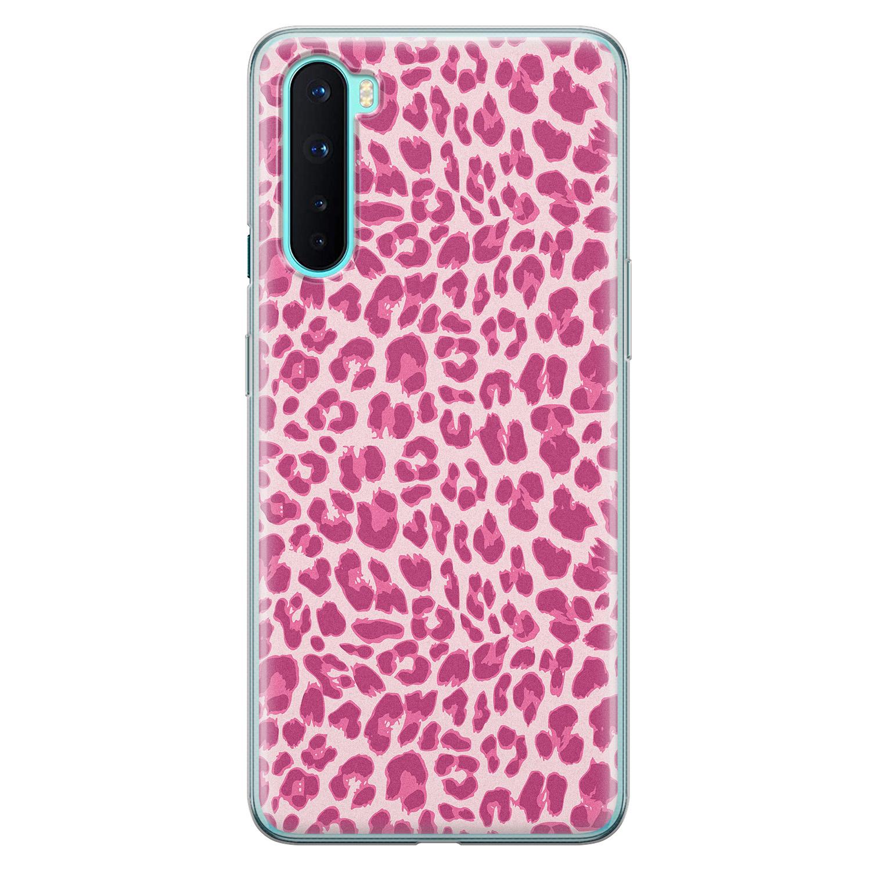 OnePlus Nord siliconen hoesje - Luipaard roze