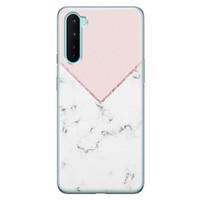 OnePlus Nord siliconen hoesje - Marmer roze grijs