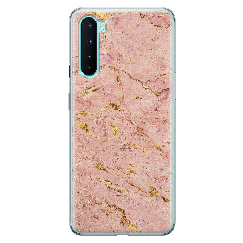 OnePlus Nord siliconen hoesje - Marmer roze goud