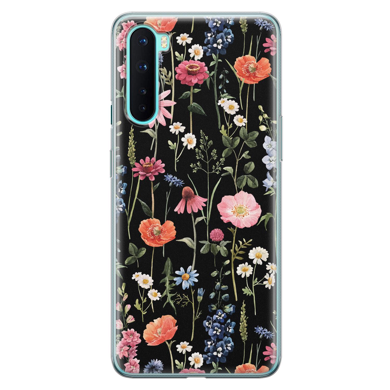 OnePlus Nord siliconen hoesje - Dark flowers
