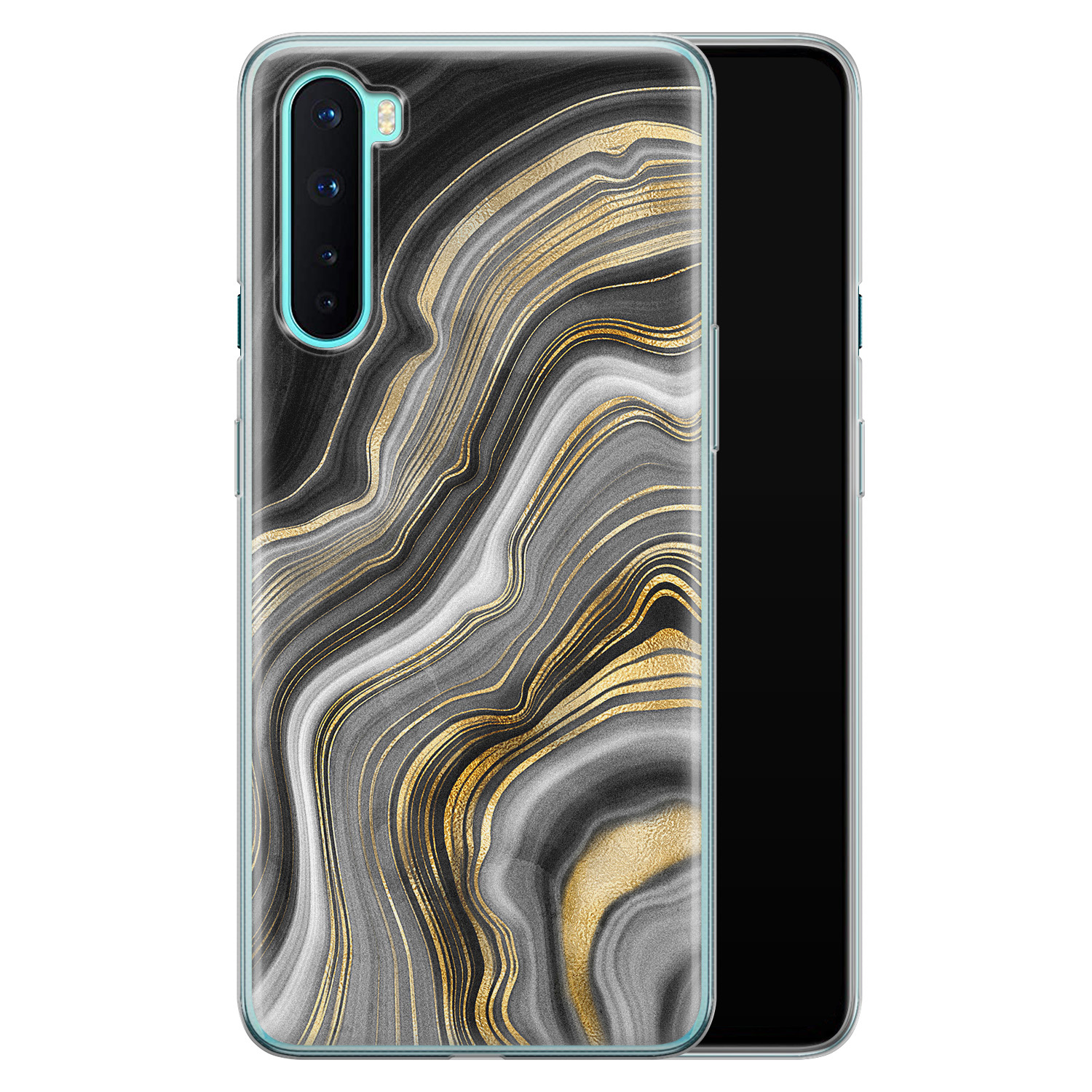 OnePlus Nord siliconen hoesje - Golden agate